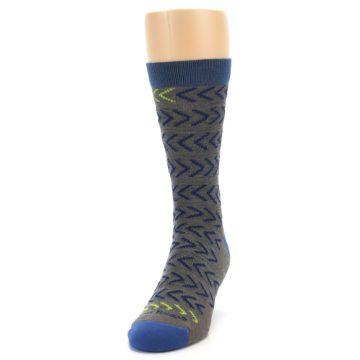 Image of Grey Blue Chevron Stripe Wool Men's Socks (side-2-front-06)