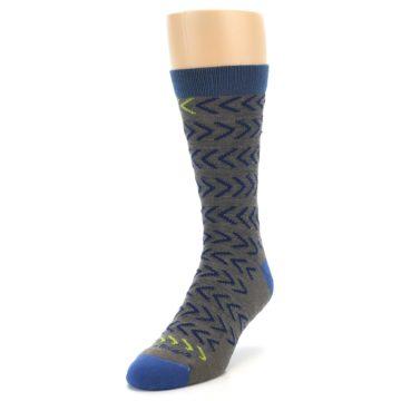 Image of Grey Blue Chevron Stripe Wool Men's Socks (side-2-front-07)