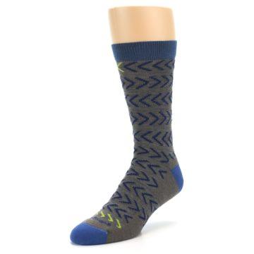 Image of Grey Blue Chevron Stripe Wool Men's Socks (side-2-front-08)