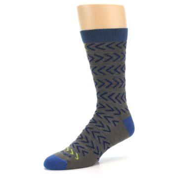 Image of Grey Blue Chevron Stripe Wool Men's Socks (side-2-09)