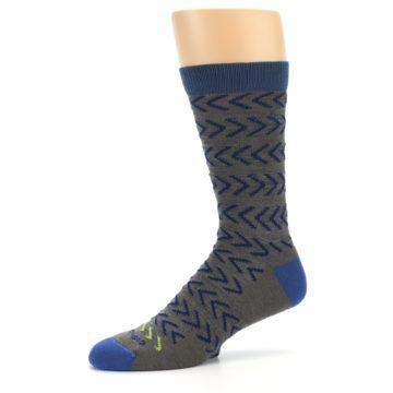 Image of Grey Blue Chevron Stripe Wool Men's Socks (side-2-10)