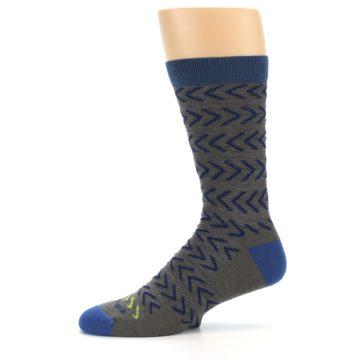 Image of Grey Blue Chevron Stripe Wool Men's Socks (side-2-11)