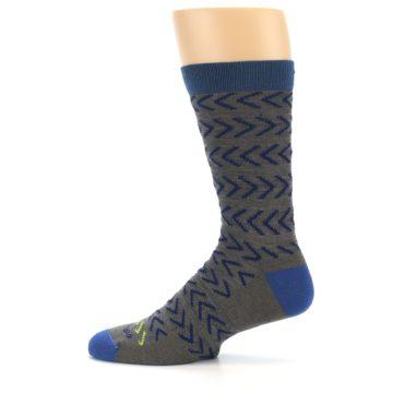 Image of Grey Blue Chevron Stripe Wool Men's Socks (side-2-12)