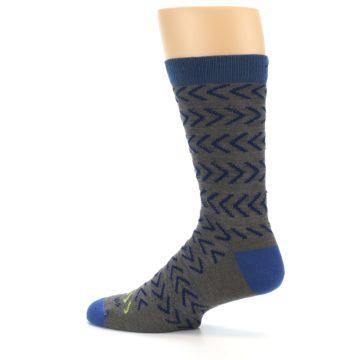Image of Grey Blue Chevron Stripe Wool Men's Socks (side-2-13)