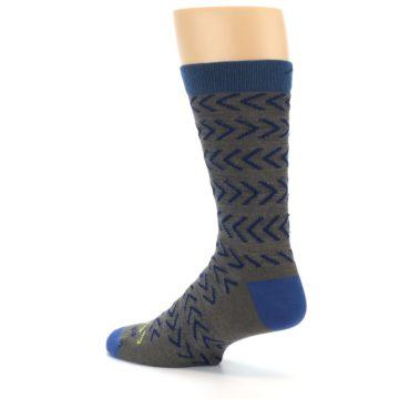 Image of Grey Blue Chevron Stripe Wool Men's Socks (side-2-back-14)