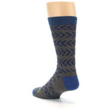 Image of Grey Blue Chevron Stripe Wool Men's Socks (side-2-back-15)
