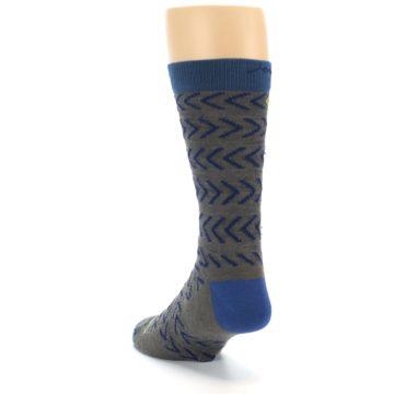 Image of Grey Blue Chevron Stripe Wool Men's Socks (side-2-back-16)