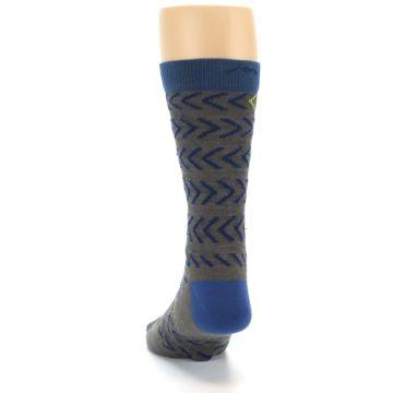Image of Grey Blue Chevron Stripe Wool Men's Socks (back-17)