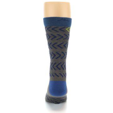 Image of Grey Blue Chevron Stripe Wool Men's Socks (back-18)