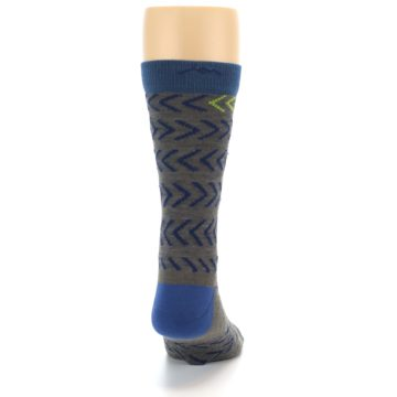 Image of Grey Blue Chevron Stripe Wool Men's Socks (back-19)