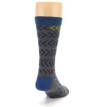 Image of Grey Blue Chevron Stripe Wool Men's Socks (side-1-back-20)