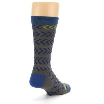 Image of Grey Blue Chevron Stripe Wool Men's Socks (side-1-back-21)