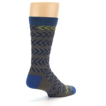 Image of Grey Blue Chevron Stripe Wool Men's Socks (side-1-back-22)