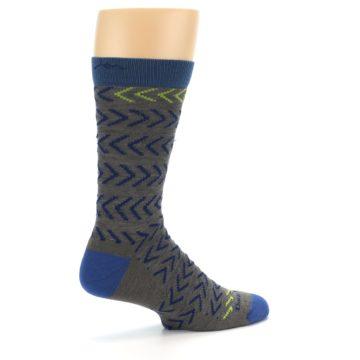 Image of Grey Blue Chevron Stripe Wool Men's Socks (side-1-23)