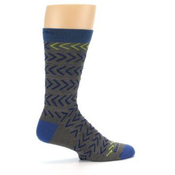 Image of Grey Blue Chevron Stripe Wool Men's Socks (side-1-24)