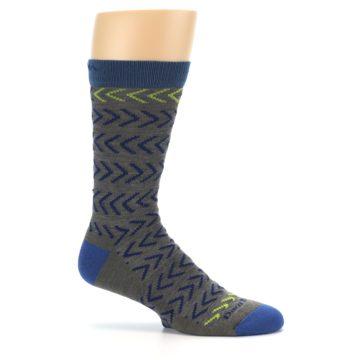 Image of Grey Blue Chevron Stripe Wool Men's Socks (side-1-25)