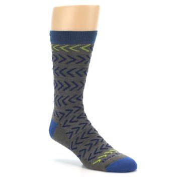 Image of Grey Blue Chevron Stripe Wool Men's Socks (side-1-27)