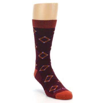Image of Burgundy Orange Argyle Wool Men's Socks (side-1-front-02)