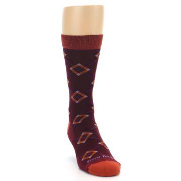Image of Burgundy Orange Argyle Wool Men's Socks (side-1-front-03)