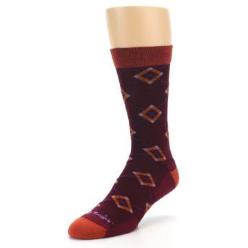 Image of Burgundy Orange Argyle Wool Men's Socks (side-2-front-08)