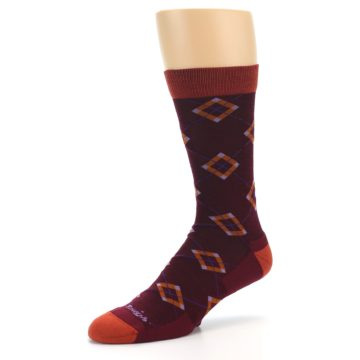 Image of Burgundy Orange Argyle Wool Men's Socks (side-2-09)