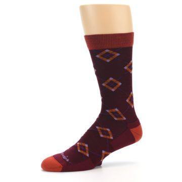 Image of Burgundy Orange Argyle Wool Men's Socks (side-2-10)