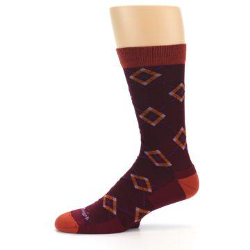 Image of Burgundy Orange Argyle Wool Men's Socks (side-2-11)
