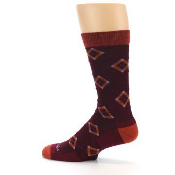 Image of Burgundy Orange Argyle Wool Men's Socks (side-2-13)