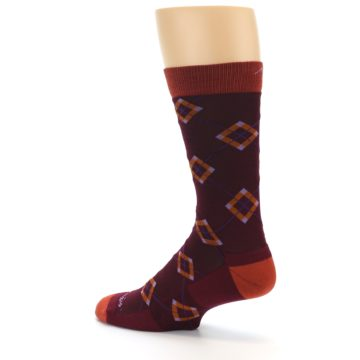 Image of Burgundy Orange Argyle Wool Men's Socks (side-2-back-14)