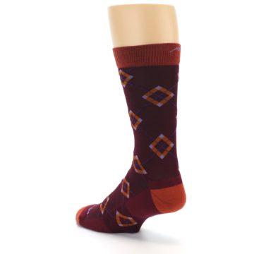 Image of Burgundy Orange Argyle Wool Men's Socks (side-2-back-15)