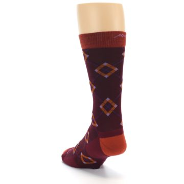 Image of Burgundy Orange Argyle Wool Men's Socks (side-2-back-16)