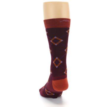 Image of Burgundy Orange Argyle Wool Men's Socks (back-17)