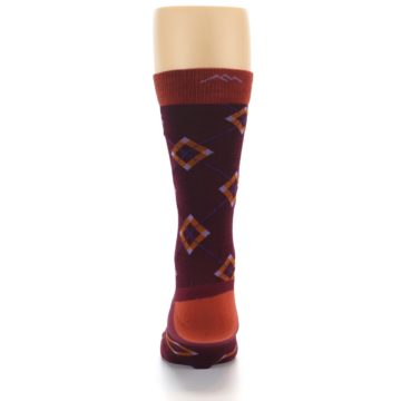 Image of Burgundy Orange Argyle Wool Men's Socks (back-18)