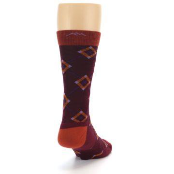 Image of Burgundy Orange Argyle Wool Men's Socks (side-1-back-20)