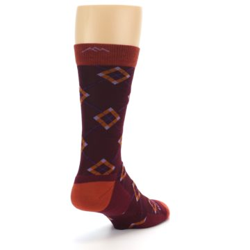 Image of Burgundy Orange Argyle Wool Men's Socks (side-1-back-21)