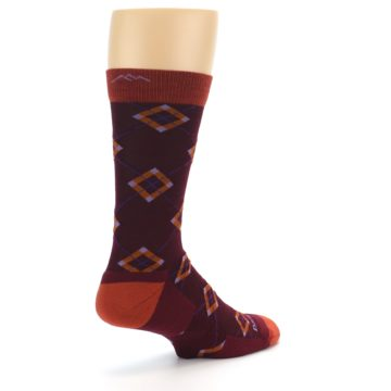 Image of Burgundy Orange Argyle Wool Men's Socks (side-1-back-22)