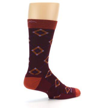 Image of Burgundy Orange Argyle Wool Men's Socks (side-1-23)