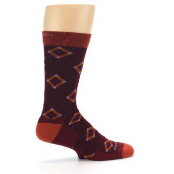 Image of Burgundy Orange Argyle Wool Men's Socks (side-1-24)