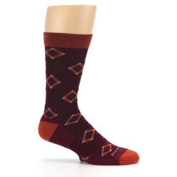Image of Burgundy Orange Argyle Wool Men's Socks (side-1-25)