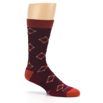 Image of Burgundy Orange Argyle Wool Men's Socks (side-1-26)