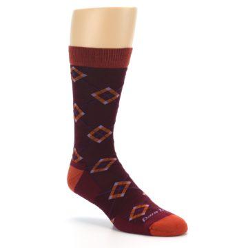 Image of Burgundy Orange Argyle Wool Men's Socks (side-1-27)