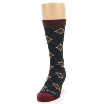 Image of Charcoal Argyle Wool Men's Socks (side-2-front-06)