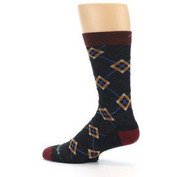 Image of Charcoal Argyle Wool Men's Socks (side-2-13)