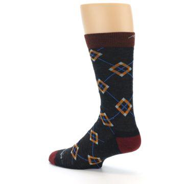 Image of Charcoal Argyle Wool Men's Socks (side-2-back-14)