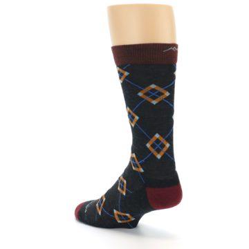 Image of Charcoal Argyle Wool Men's Socks (side-2-back-15)
