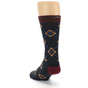 Image of Charcoal Argyle Wool Men's Socks (side-2-back-16)