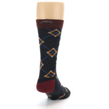 Image of Charcoal Argyle Wool Men's Socks (side-1-back-20)