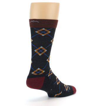 Image of Charcoal Argyle Wool Men's Socks (side-1-back-22)
