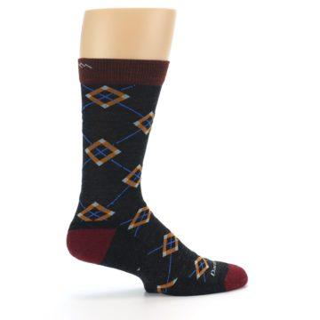 Image of Charcoal Argyle Wool Men's Socks (side-1-24)