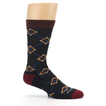 Image of Charcoal Argyle Wool Men's Socks (side-1-25)